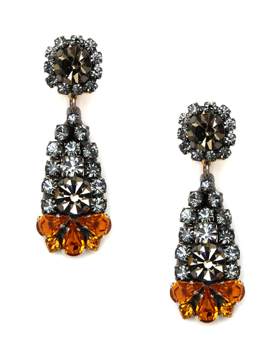 RADA GREY AND ORANGE RHINESTONE EARRINGS