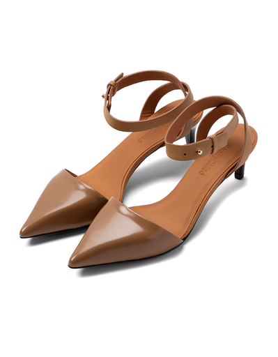 SEE BY CHLOE TAN POINTED TOE HEELED SANDAL