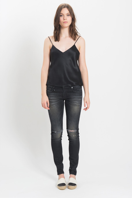 R13 - Alison Distressed Skinny in Black Torn