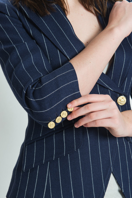 Smythe Les Vestes - Pinstripe Crossover Blazer