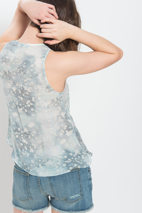 Cacharel - Sleeveless Floral Ramie Blouse