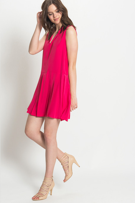 Cacharel - Sleeveless Pleated Dress in Fuschia