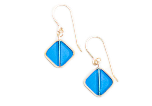 I. RONNI KAPPOS TRANSLUCENT BLUE DIAGONAL SQUARE DROP EARRINGS