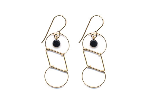 I. RONNI KAPPOS CIRCLE AND DIAMOND GOLD WIRE WITH BLACK DETAIL EARRINGS