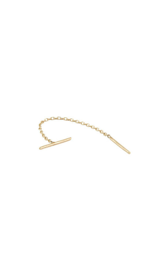 In God We Trust NYC T Thread Earring, 14K Yellow Gold