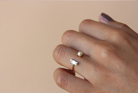 Bing Bang Open Baguette Ring