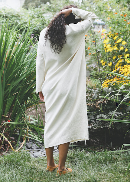 Black Crane - Quilted Long Dress in Cream