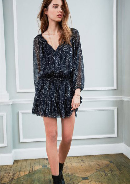 Love Shack Fancy Popover Dress - Midnight Navy with Stars