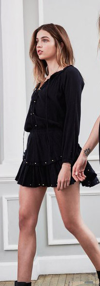 Love Shack Fancy Popover Ruffle Mini Dress - Black with Studs