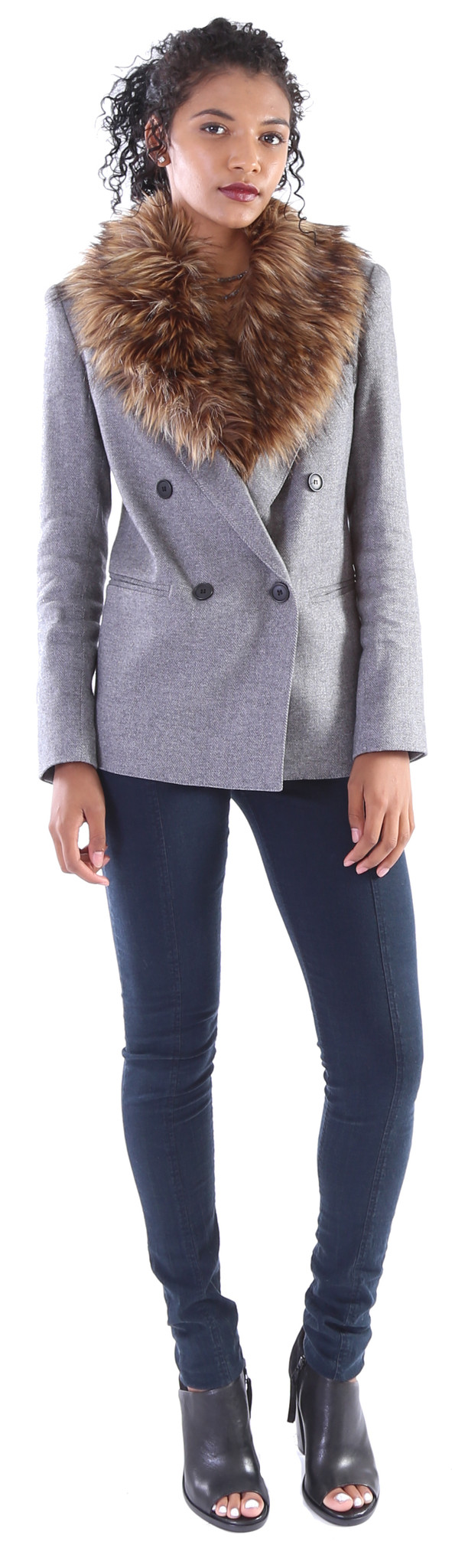 Smythe Double Breasted Blazer w/ Detachable Faux Fur
