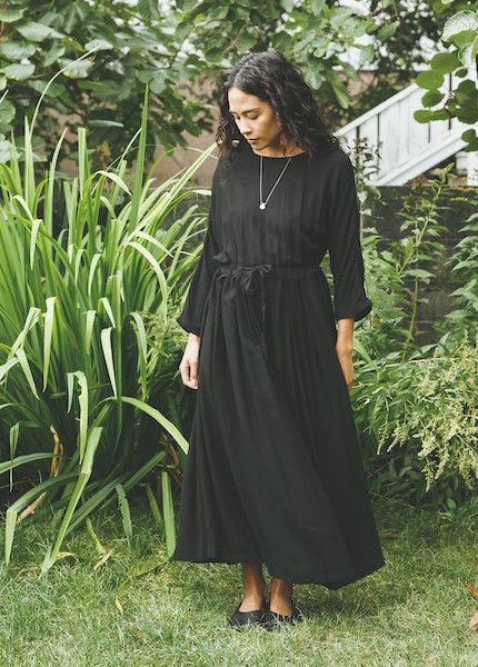 Black Crane - Pleated Dress in Black
