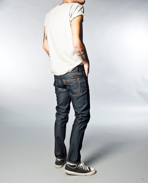 men 39 s nudie jeans grim tim dry navy from leo boutique. Black Bedroom Furniture Sets. Home Design Ideas
