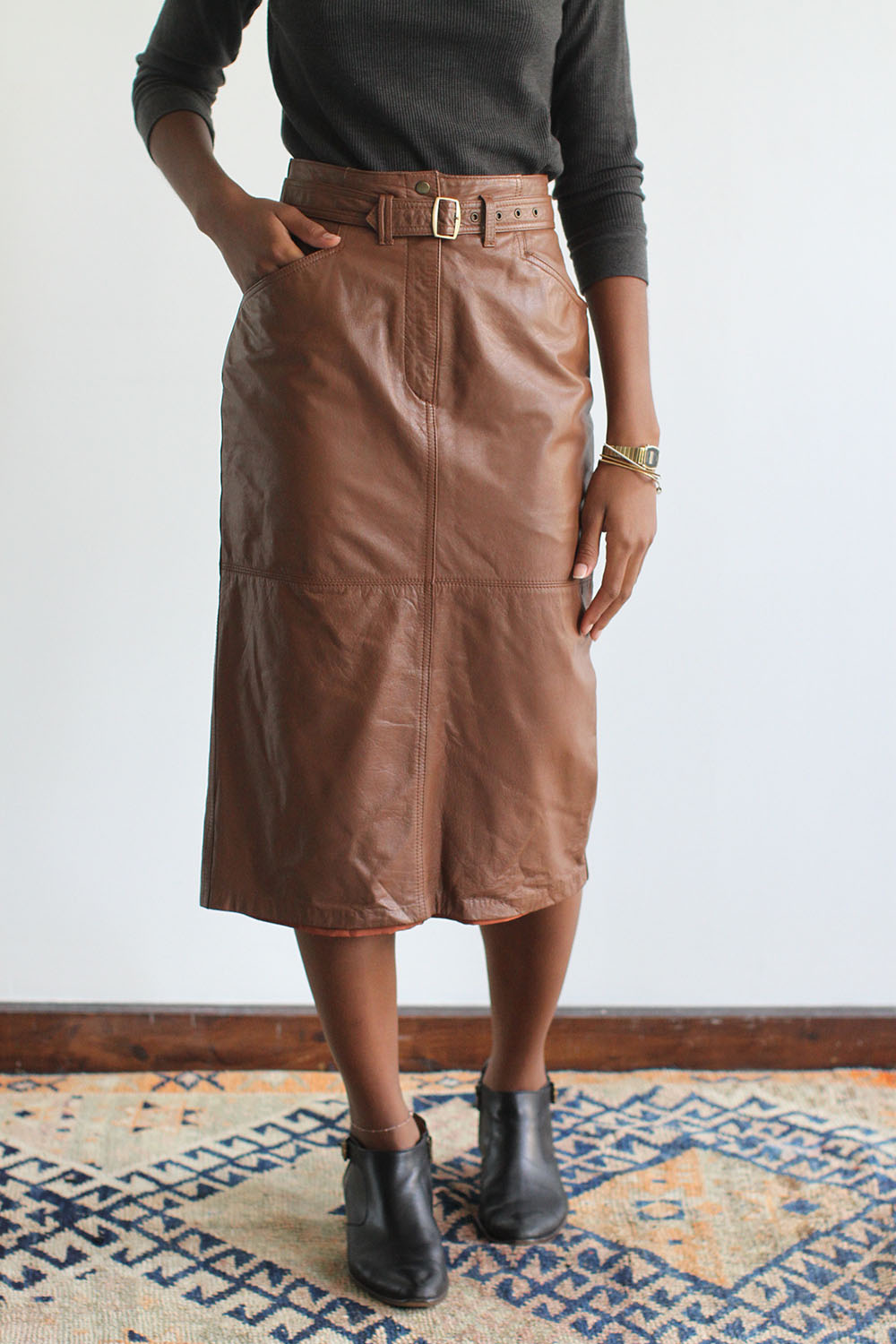 rawson vintage caramel leather pencil skirt from the