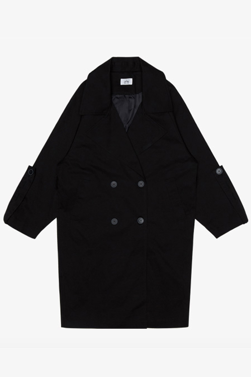 AMONG SEOUL Oversized Trench Coat- Black