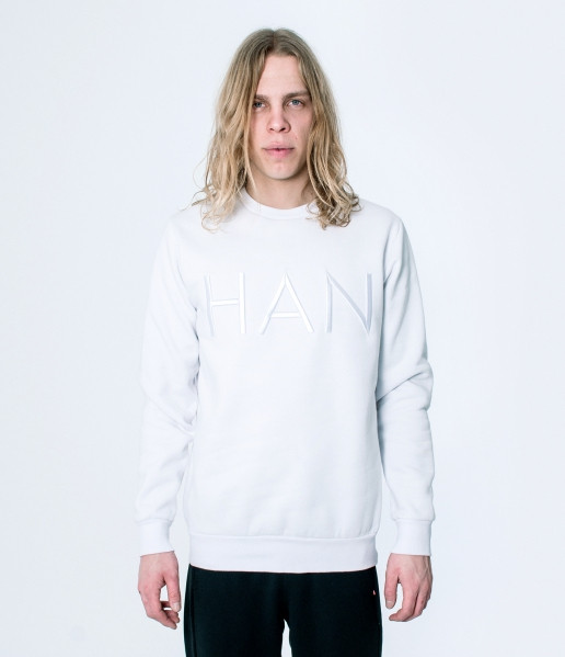 Men's Crew Neck 3D Logo White