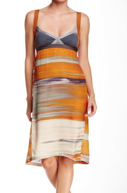 VPL Insertion Narrow Midi Dress: Orange Print