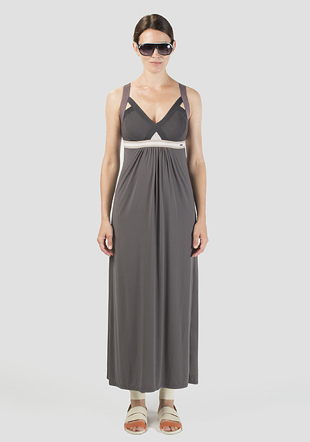 VPL Insertion Wide Maxi Dress: Grey