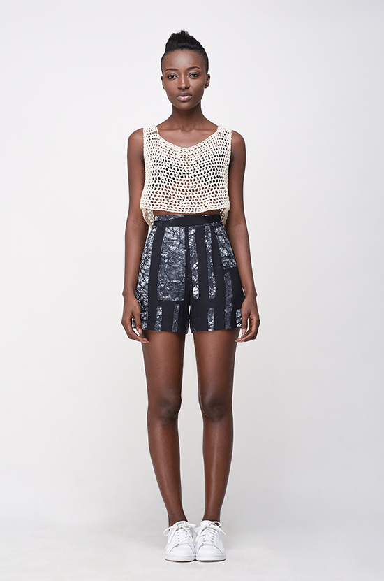 Osei-Duro Parva Shorts in B&W Parallel