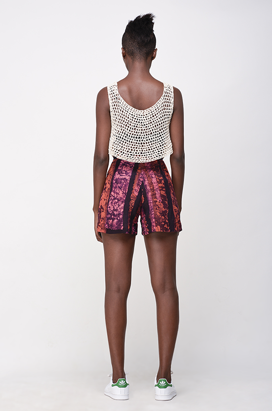 Osei-Duro Parva Shorts in Carmine Parallel