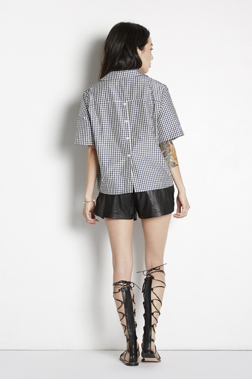 Cropped Gingham Shirt with Back Buttons