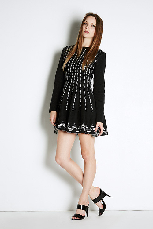 J.O.A. Printed Skater Dress