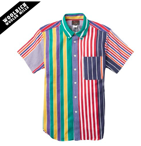 Woolrich x Mark McNairy Multi Stripe Short Sleeve Button Down