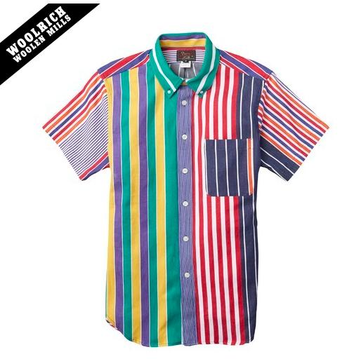 Woolrich x Mark McNairy Multi Stripe Short Sleeve Button Down