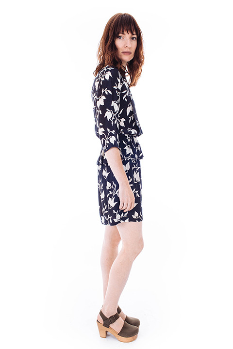 Ganni Maxwell Crepe Dress in Flower