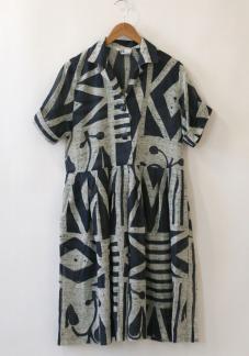 Navy & Cream Print Dress by Namesake Vintage