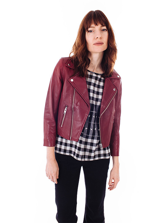 Ganni Passion Biker Jacket in Cabernet