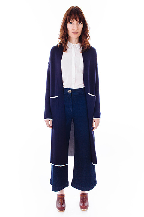 Achro Slim Long Cardigan in Navy