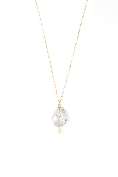 Tourmalated Quartz Drop Necklace by Mary MacGill