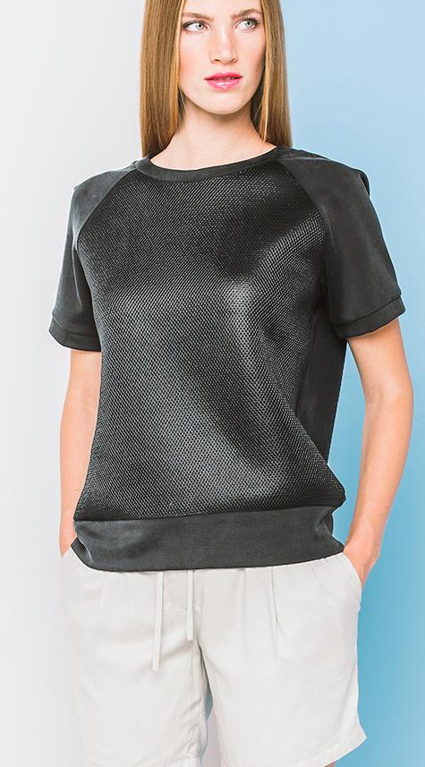 Obakki Raglan T-Shirt with Cupro Contrast