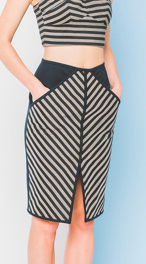 Obakki Chevron Stripe Skirt