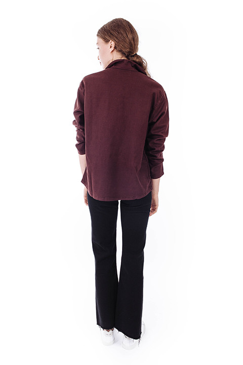 THE GREAT The Army Shirt Jacket in Wine