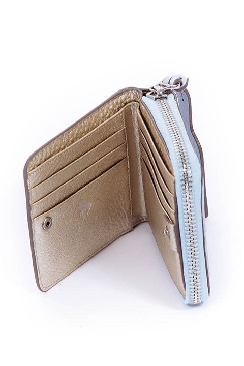 Mini Block Wallet in Blue and Metallic by The Horse