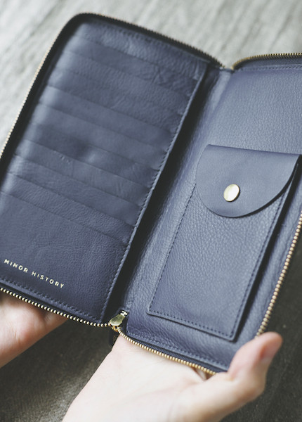 Minor History Tall Coupe Large Zip Wallet in Oiled Black, Kelly or Indigo