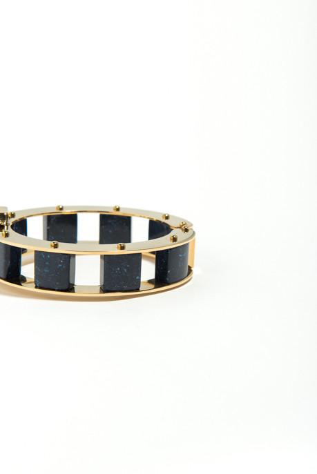 Lele Sadoughi Navy Stone Cube Slider Bracelet