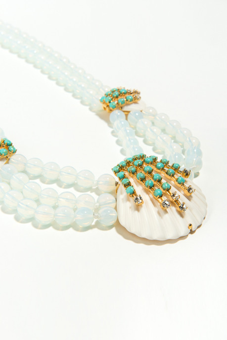 Lele Sadoughi Seafoam Seashell Necklace