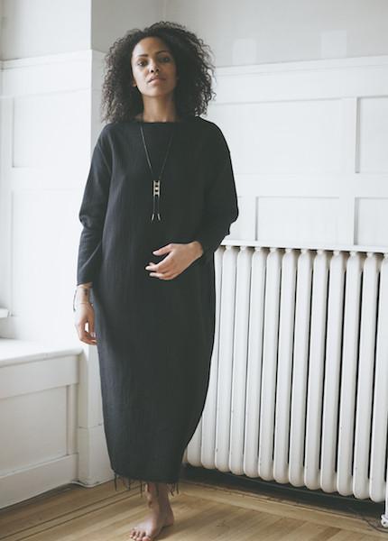Black Crane Quilted Long Dress - Black