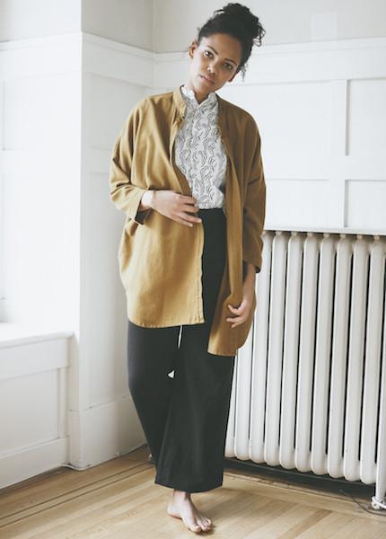 Black Crane Square Shirt - Gold Brown
