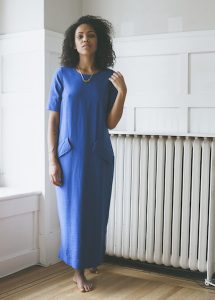 Sunja Link Blue Flap Pocket Dress
