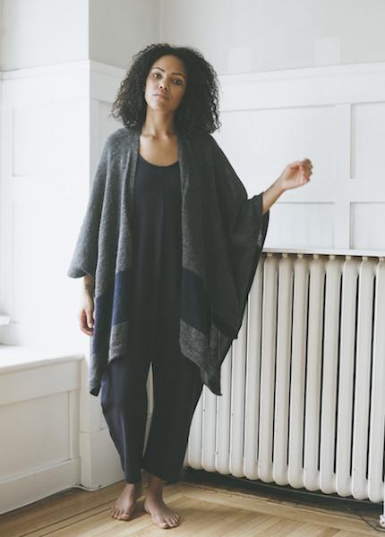 Bare Knitwear Travel Wrap - Charcoal Stripe