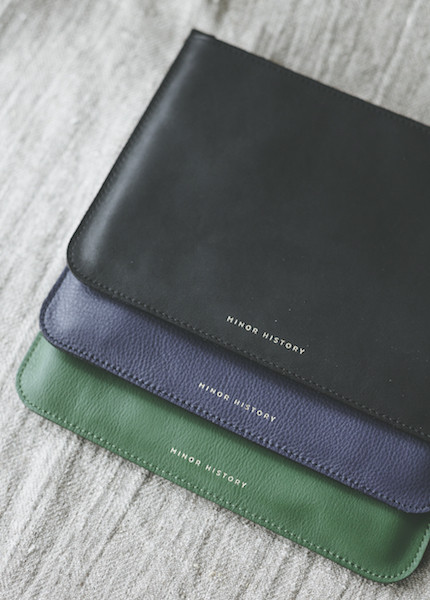 Minor History 2.0 Large Zipper Pouch - Oiled Black, Kelly or Indigo