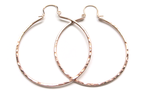 "Silversheep Jewelry 2"" Hammered Hoops"