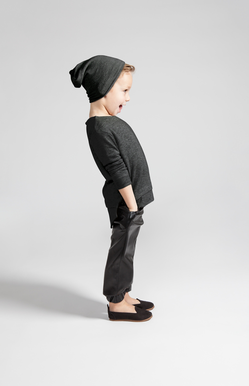 OMAMImini Charcoal Kids Soft-knit Long Sleeve Tee