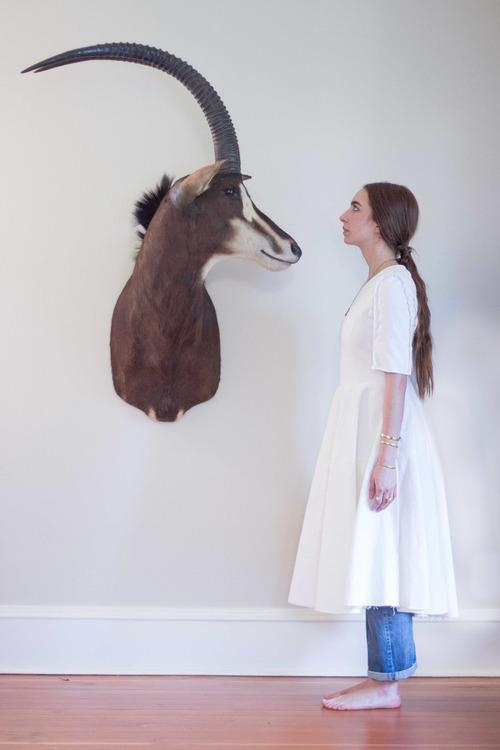Alexa Stark Short-sleeve Full-skirt Denim Dress