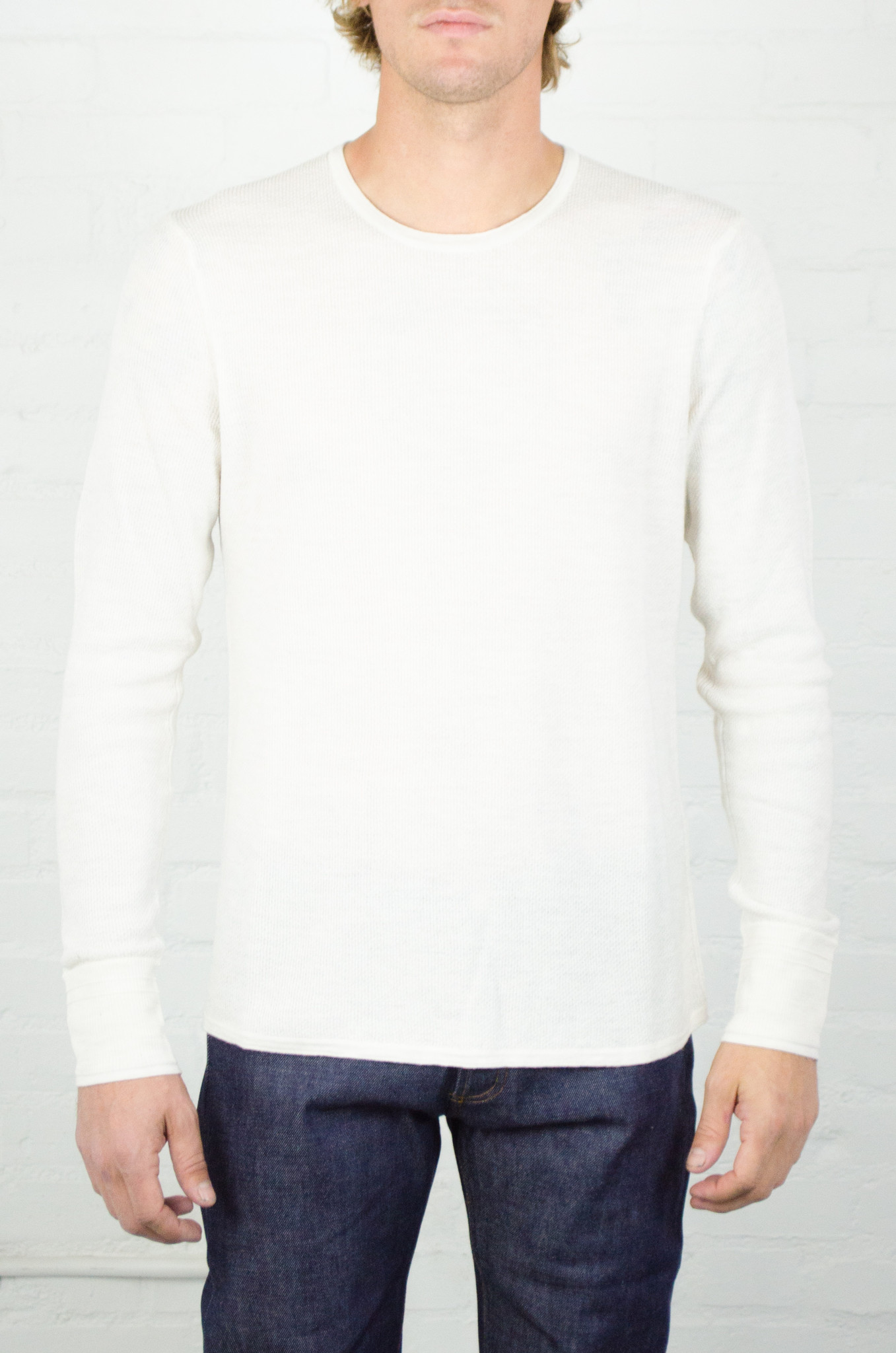 Men 39 s rag and bone cream giles crew from hub clothing for Rag and bone mens shirts sale
