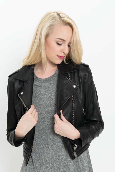 'Zefir' Leather Jacket in Black