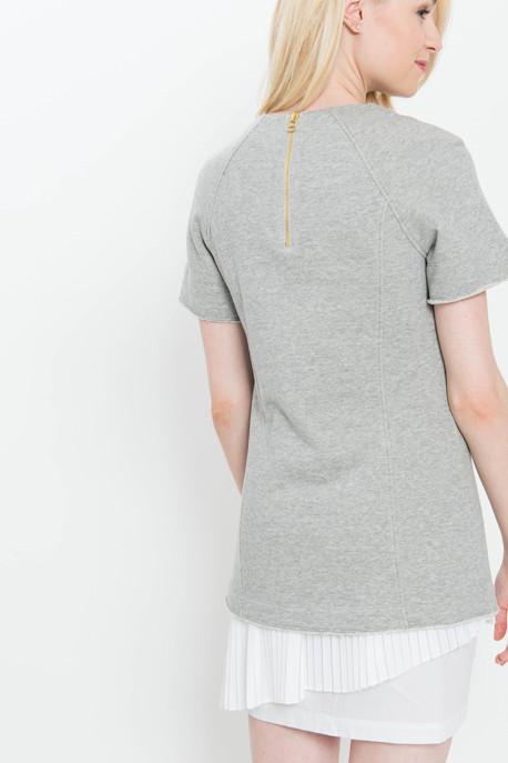 Derek Lam 10 Crosby 2 in 1 Sweatshirt Dress with Pleated Underpinning in Grey